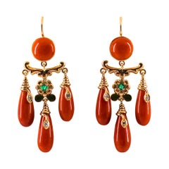 Mediterranean Coral 0.28 Carat White Diamond Emerald Yellow Gold Drop Earrings