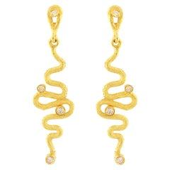 "Sacchi ""Serpenti"" Drop Earrings Diamond Gemstone 18 Karat Satin Yellow Gold"