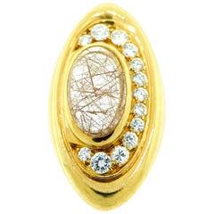 Bvlgari Yellow Gold, Quartz, and Diamond Ring