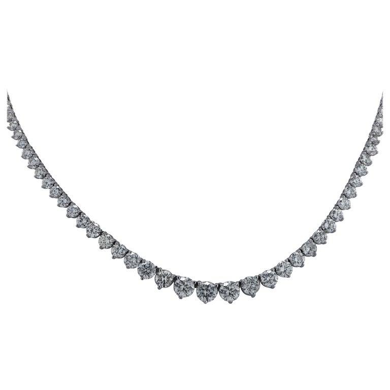17.5 Carat Diamond Riviere Necklace For Sale