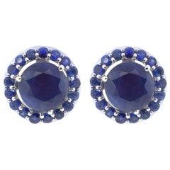 18K White Gold & 1 ct Lu Blue Sapphire Stud + 0.67 cts Lu Blue Sapphire Cluster