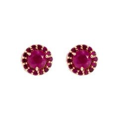 18K Rose Gold & 1 ct Lu Ruby Stud + 0.54 cts Lu Ruby Cluster by Alessa Jewelry