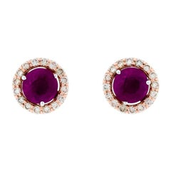 Alessa Ruby Stud + Diamond Cluster 18 Karat White Gold Bloom By Lu Collection