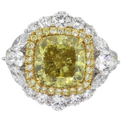 Fancy Deep Yellow Cushion Diamond Engagement Ring