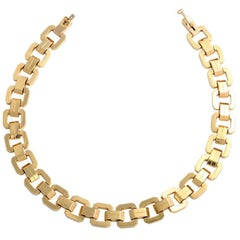 Midcentury Geometric Square Link and Double Bar Gold Necklace