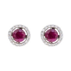 18K White Gold & 1 ct Lu Ruby Stud + 0.54 cts White Diamond Cluster by Alessa