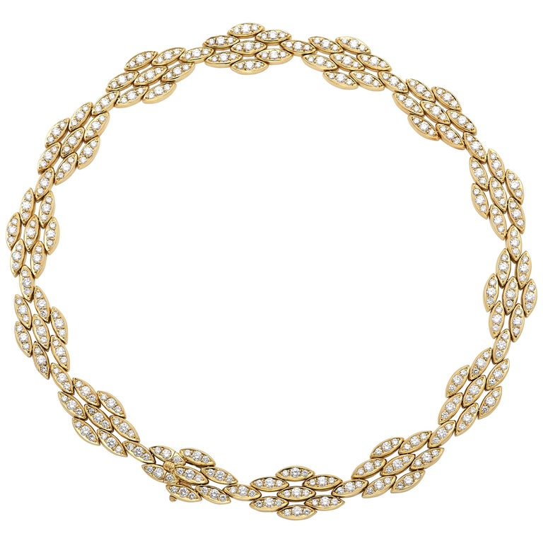 18 Karat Yellow Gold and Diamond Necklace, by Black Starr & Frost For Sale