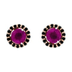 18K Rose Gold & 1 ct Lu Ruby Stud + 0.54 cts Black Diamond Cluster by Alessa