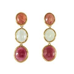 Marco Bicego 4.90 Carat Sapphire Yellow Gold Siviglia Collection Dangle Earrings