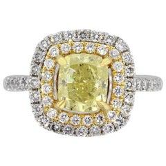 1.71 Carat Cushion Intense Yellow GIA Diamond Engagement Ring