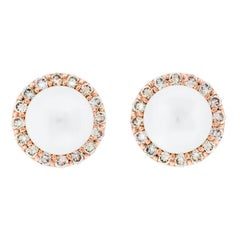 18K Rose Gold & 6mm Pearl Stud + 0.54 cts Cognac Diamond Cluster by Alessa
