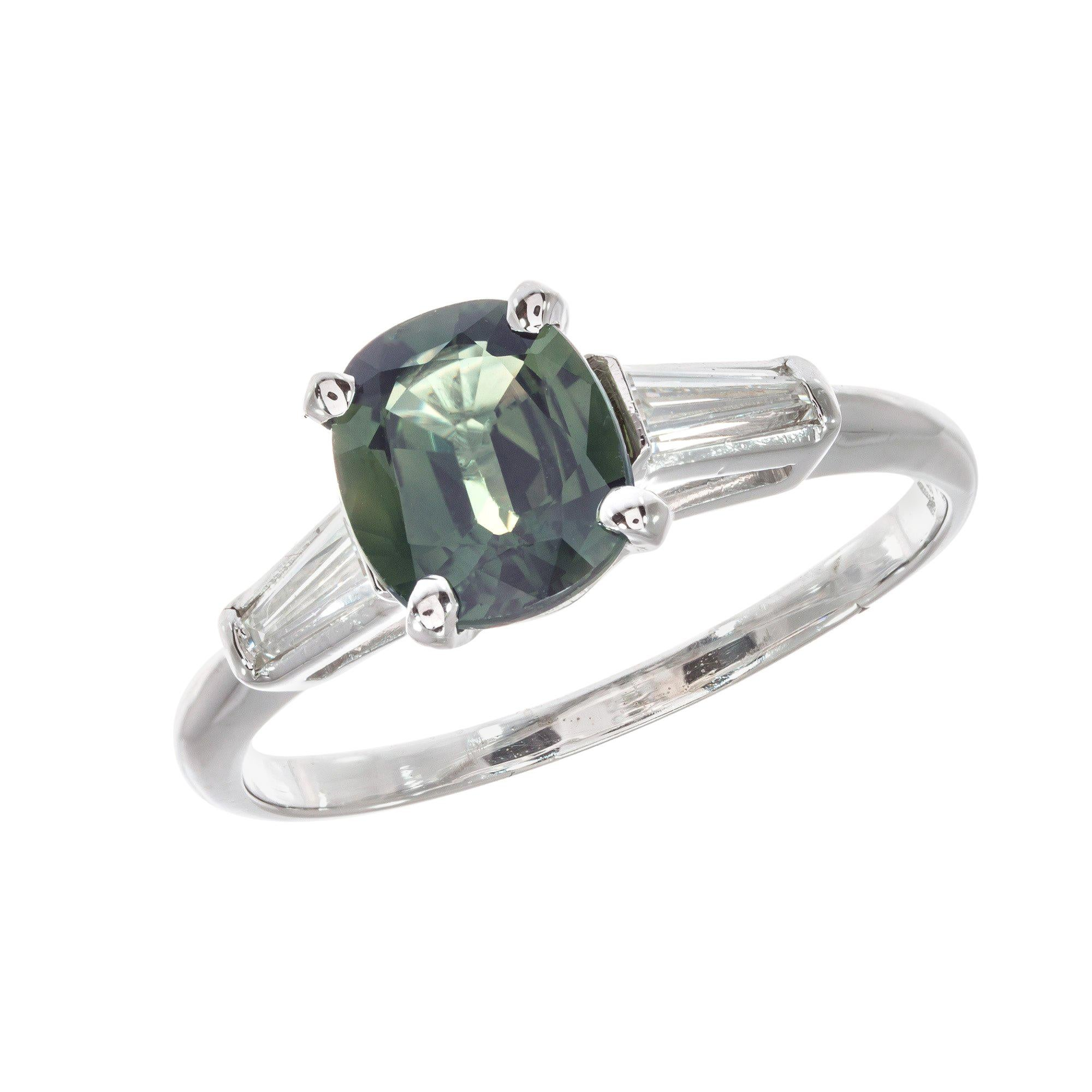 AGL Certified 1.53 Sapphire Diamond Platinum Three-Stone Engagement Ring