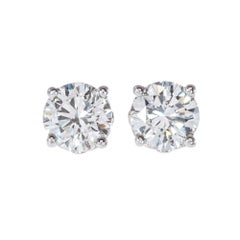 Peter Suchy GIA Certified 1.64 Carat Diamond Platinum Stud Earrings