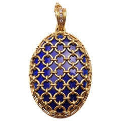 Modern Faberge 18 Karat Yellow Gold Blue Guilloché Caged Locket with Certificate