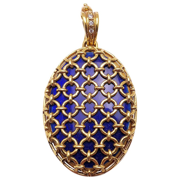 Modern Faberge 18 Karat Yellow Gold Blue Guilloché Caged Locket with Certificate For Sale