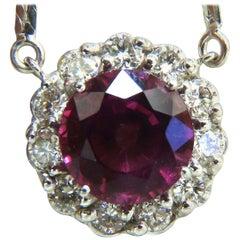 5.10 Carat Natural Tourmaline Diamonds Halo Cluster Necklace 14 Karat