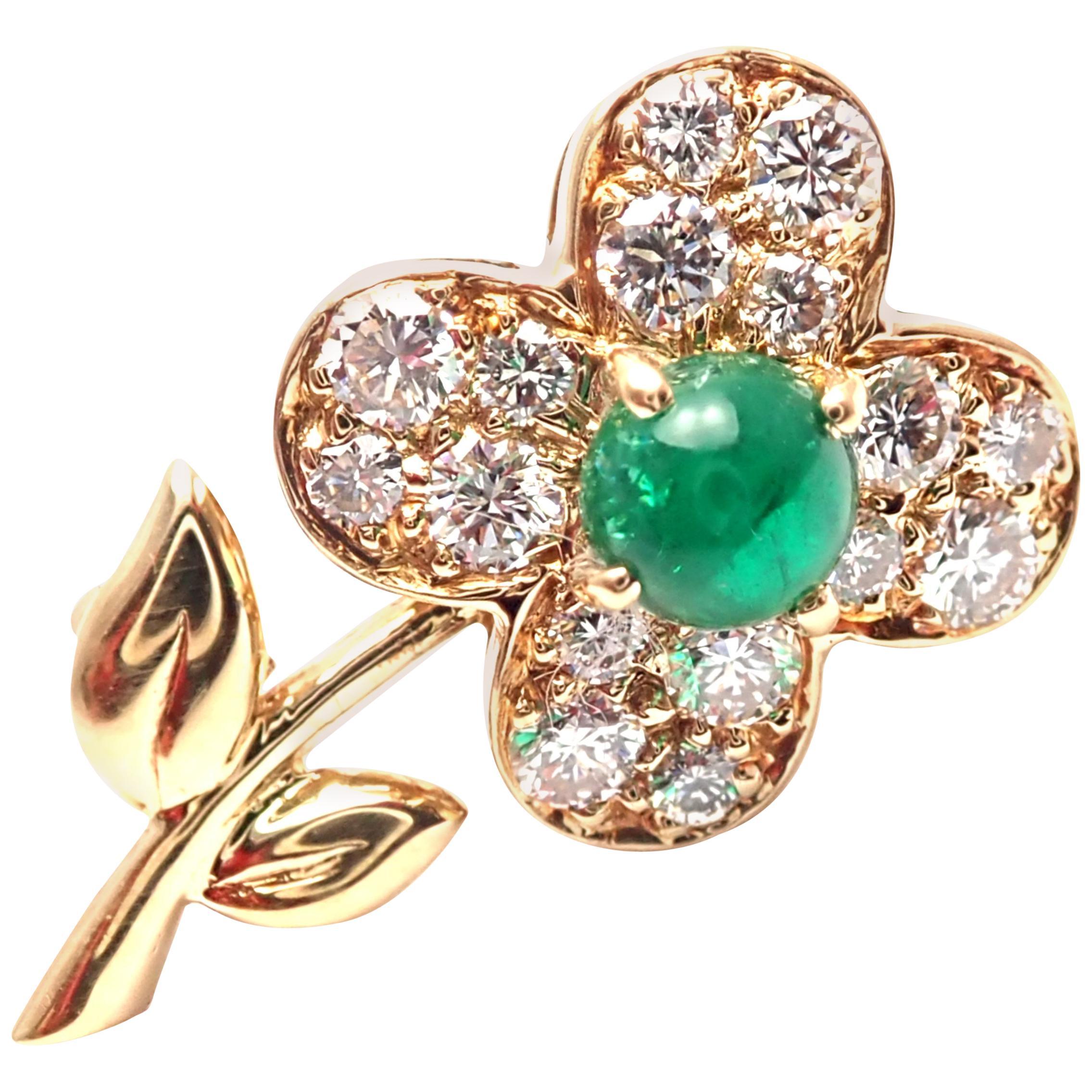 Van Cleef & Arpels Diamond Emerald Flower Yellow Gold Pin Brooch