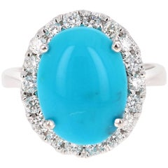 7.28 Carat Oval Cut Turquoise Diamond White Gold Cocktail Ring