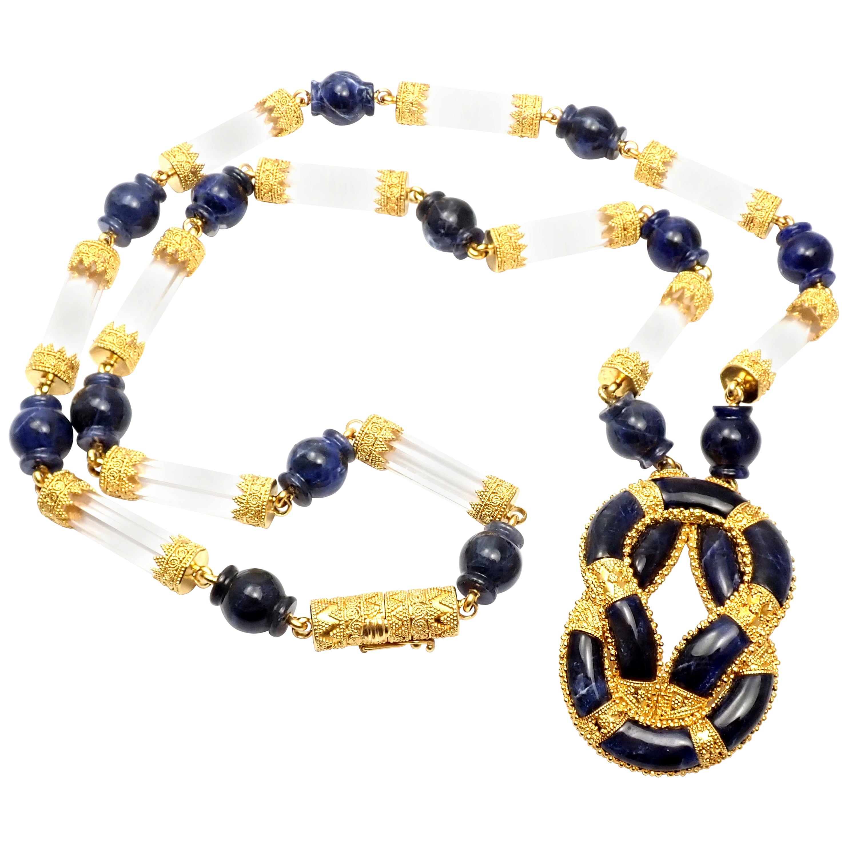 Ilias Lalaounis Sodalite Rock Crystal Hercules Knot Yellow Gold Necklace