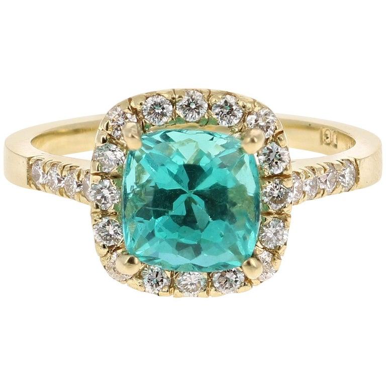 2.81 Carat Apatite Diamond 18K White Gold Engagement Ring