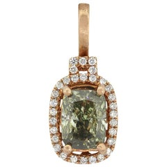 2.02 Carat Fancy Greenish Yellow-Gray Cushion GIA Diamond Pendant