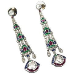 Platinum Diamond Sapphire Emerald Ruby Drop Earrings