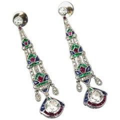Platinum Diamond Sapphire Emerald Ruby Drop Earrings