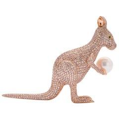 "16.48 Carat Diamond and Pearl Kangaroo ""Skippy"""