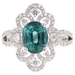 3.01 Carat Apatite Diamond 18 Karat White Gold Cocktail Ring