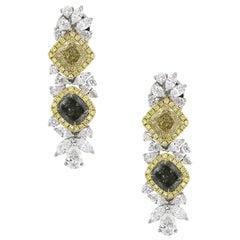 Fancy Diamond GIA Drop Earrings