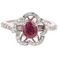 1.22 Carat Oval Cut Burmese Ruby Diamond White Gold Cocktail Ring