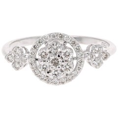 0.43 Carat Cluster Diamond 18 Karat White Gold Ring