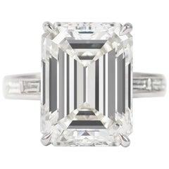 J. Birnbach GIA Certified 10.01 Carat Emerald Cut G VS1 Diamond Ring