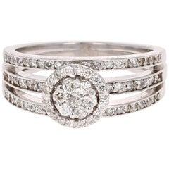 0.73 Carat Cluster Diamond 14 Karat White Gold Ring