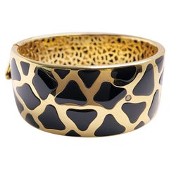 Roberto Coin 18 Karat Gold and 94.88 Carat Onyx Giraffe Wide Bangle Bracelet