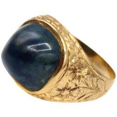 Belle Epoque Labradorite 18 Karat Yellow Gold Signet Ring