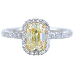 Yellow Cushion Platinum Diamond Engagement Ring 1.54 tcw Halo 18k Yellow Gold