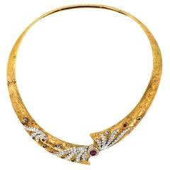 Diamond Ruby and Sapphire Gold Choker