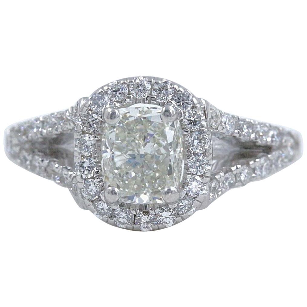 Cushion Halo Diamond Engagement Ring 1.55 Carat 14 Karat White Gold