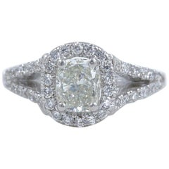 Cushion Halo Diamond Engagement Ring 1.55 Carat 14 Karat White Gold