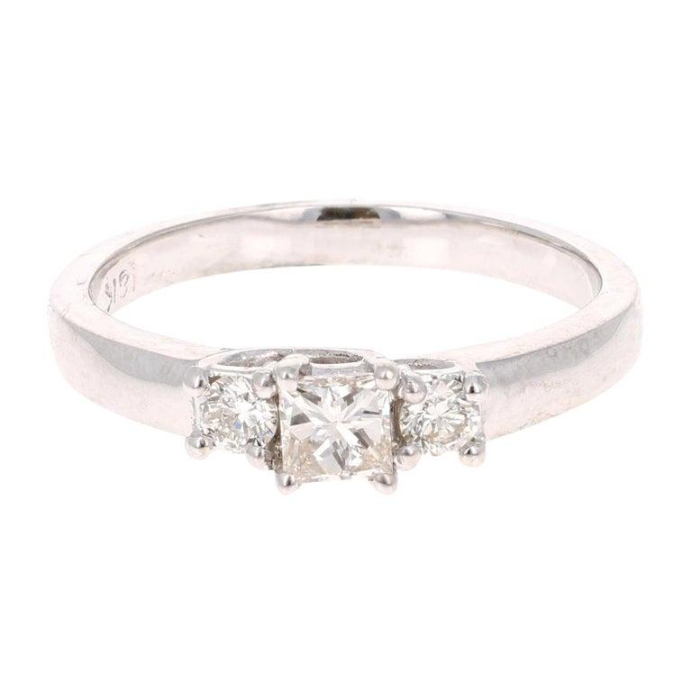 0.47 Carat Three-Stone Diamond 18 Karat White Gold Ring