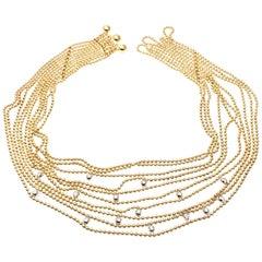 Cartier Draperie de Decollete Diamond Yellow Gold Link Necklace
