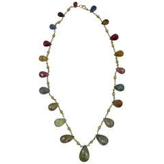Multi-Color 11 Carat Sapphire Ruby 14 Karat Gold Necklace Etruscan Pear Cut Gems