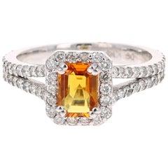 1.96 Carat Orange Sapphire Diamond 14 Karat White Gold Bridal Ring
