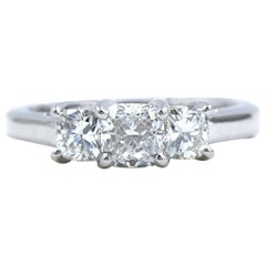Blue Nile 3-Stone Platinum Diamond Engagement Ring Cushion 1.96 Carat