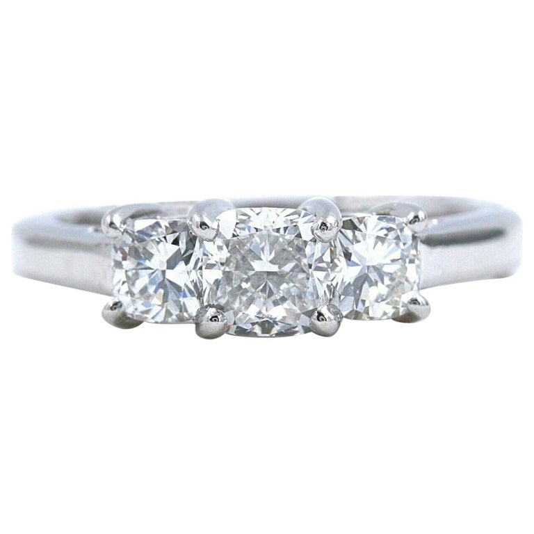 Blue Nile 3-Stone Platinum Diamond Engagement Ring Cushion 1.96 Carat For Sale