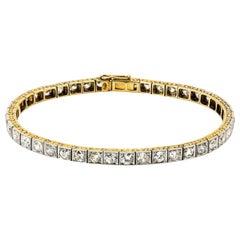 Antique Diamond and Gold Straight Line Bracelet