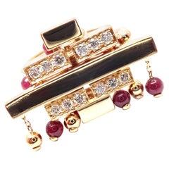 Cartier Le Baiser du Dragon Diamond Ruby Tassel Yellow Gold Ring