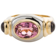 Torres Pink Tourmaline and Iolite 18 Karat White and Yellow Gold Dress Ring