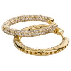 18 Karat Yellow Gold Diamond Set Hoop Earrings